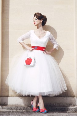 Baroness Pearl Tea Length Lace Wedding Dress